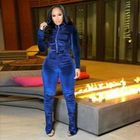 Women's Two Piece Pants Velvet Sweatsuits For Women Outfits Zip Top And Stacked Sweatpants Leggings Tracksuits Wholesale Drop RV691