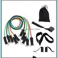 Equipments Supplies Sports & Outdoors11Pcs Resistance Bands Set Expander Yoga Exercise Fitness Rubber Tubes Band Stretch Training Home Gyms