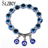 Charm Bracelets Resin Blue Evil Eye Beads Strand Charms For Woman Men Crystal Elastic Bracelet Wristband Jewelry Pulsera Mujer