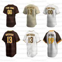 야구 유니폼 Fernando Tatis JR 23 매니 Machado 13 Tony Gwynn 19 Eric Hosmer 30 Uniform Brown은 돌아 왔습니다.