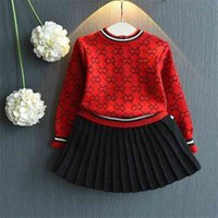 2021Girls Winter Clothes Set Long Sleeve Sweater Shirt and Skirt 2 Pcs Clothing Suit Spring Outfits for Kids Girl's Clothes_xm
