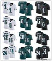 """남성 필라델피아 """"Eagles""""저지 6 Devonta Smith 26 마일 샌더 20 브라이언 Dawkins 24 Darius Slay Jr. 1 Jalen은 축구 유니폼을 아프게합니다."""