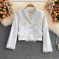 Women's Jackets Elegant OL Long Sleeve Single-breasted All-match Short Suit Coat Fashion Pearl Beaded Ruffles Trim Jacquard Cardigan