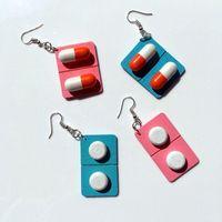 Stud Handmade Jewelry Earrings Cute Girl Heart Wooden Pills Funny Exaggerated Hypoallergenic Ear Hook Clip