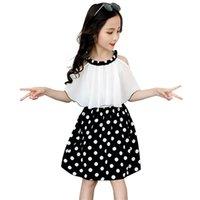 큰 소녀 드레스 캐주얼 패치 워크 키즈에 대 한 shouder 여름을 벗고 십대 의상 S 6 8 10 12 14 년 210804