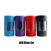 LED Glow Jar Storage Bottle Container 12.5*6.5mm Magnifying Glass Stash Mag Jars With Grinder Rechargeable Smoking Pipe DHL