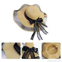와이드 브림 모자 세련된 밀짚 모자 패키지 태양 모자 부드러운 실키 리본 활 장식 접이식 여행 해변 동반자 UV 해를 줄이기 MY18 21