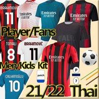 21/22 جديد لاعب المشجعين نسخة AC Soccer Milan Balr. الفانيلة 2021 Ibrahimovic Tonali Mandzukic Kessie Kid Kid Kits قمصان تدريب كرة القدم
