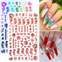 1 Sheet 3D Chinese Dragon Red Gold Nail Art Stickers for Women Girls New Year Money Design Colorful Nails Adhesive Sticker Tip DIY Accessories Manicure Decorations