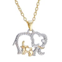 Pendant Necklaces Fashion Handmade Charm Gold Color Crystal Animal Elephant Baby Hollow Necklace Jewelry Women's Home Mother's Day Gift