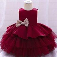Girl's Dresses Toddler Girls Tutu Dress Sleeveless Little Princess Party Ball Gown Flower Mid-length Formal Christmas 3t 4