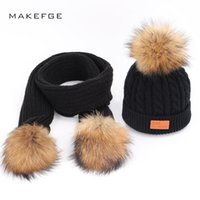 Parent-Child Caps Cute Infant Baby Pompon Winter Hat Scarf Sets Real Natural Fur Ball Caps Kids Warm Knitted Hats Beanies