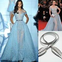 Li Bingbing in Zuhair Murad Red Carpet Evening Dresses Overskirts Lace Applique Beads Lace Poet Short Sleeve Formal Prom Celebrit