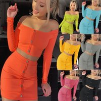 Skirts 2021 Spring And Autumn Women's Knitted Diagonal Top + Skirt Suit Sexy Two-Piece Nightclub Party Sportswear Beach AL8637