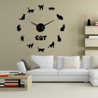 Horloges murales CAT Sans poils Sphynx 3D DIY Horloge Decor Sticker Sticker Miroir Sphinx Grand Kit Grand Kit Race Art