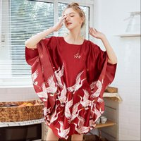 Plus Size Time limited Women Sleepwear Summer Style Nightgown bat Sleeve Crane Robe Indoor Clothing Home Bathrobe