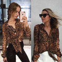 2021 мода дизайн женский европейский стиль перспективы леопарда печать с длинным рукавом шифоновая блузка рубашка SML