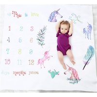 Baby Blankets Flower Unicorn Printed Swaddle Wrap Newborn Stroller Bedding Cover Monthly Growth Number Photography Prop Mix Designs