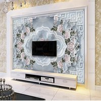 Wallpapers European Marble Wallpaper Rose Relief Pattern Mural TV Living Room Sofa Background Wall
