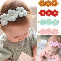 Hair Accessories Boutique Baby Girls Nylon Headbands 2pcs Set Wool Crochet Knitting Flowers Hairbands High Elasitc Kids Head Hoop Po Headdre
