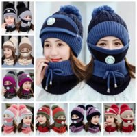 Knitted Hats Masks Scarf Set Beanies With Valve Mask Scarf Winter Wool Pompon Casual Hat Sets Party Hats Neckerchiefs Supplies Gift