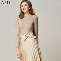 Suéteres para mujer Amii Minimalista Suéter sólido Otoño Invierno Mujeres Casual Cuello redondo Slim Fit Elegante hembra Pullover Knit 11960108