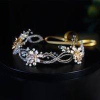 Headpieces Luxo Elegante Mulheres Headdress Dourado Liga de Pérola Flower Rhinestone Chain Chavo Banda para o Casamento Realizar Viagens Estúdio HP089