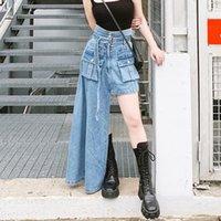 Skirts Women Trendy Asymmetrical Skirt Elegant Harajuku High Waist Long Denim Maxi Jeans Slit Design Street Outfits Stylish Chic
