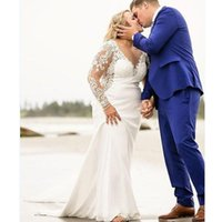 2021Vintage Long Sleeve V-Neck Lace and Satin Mermaid Wedding Dresses New Arrival Plus Size button Back Bridals Gown