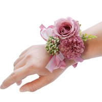 Charm Bracelets Wedding Bridal Wrist Corsage Accessories Bridesmaid Girls Bracelet Man Boutonniere Groom Party Silk Flower BroochSafety Pins