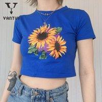 Women's T-Shirt Y2k Top Fashion Women Tops 2021 Summer Round Neck Sunflower Print Crop Short For Female Woman Tshirts