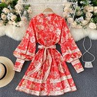 Casual Dresses Trendy Boho For Women Nice Bohemian Vintage Floral Dress Stand Collar Lantern Long Sleeve Mini Shirt With Belt