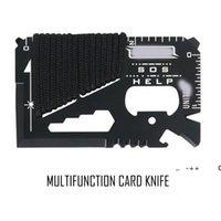كل يوم تحمل 14 وظيفة في 1 الفولاذ المقاوم للصدأ متعددة الوظائف العسكرية بطاقة سكين التخييم حبل بطاقة أداة GWF1178