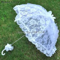 Fans & Parasols Long Ivory Lace Cover Wedding Umbrellas 2021 Embroidery Parasol Bridal Showers Accessories Decorations Ombrelle Mariage