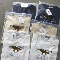 Broderie de renard Maison Kitsune Tees Broderie Femmes Hommes T-shirts Tees HiPhop Surdimenseur Hommes T-shirt x1214