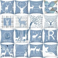 Cushion Decorative Pillow Mustard Blue Cushion Cover 45*45 Cushions Home Cafe Decor Custom Alphabet Style Outdoor Drop