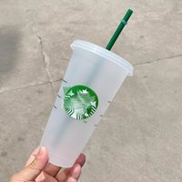 black starbucks 710ml 24oz reusable plastic tumbler cups clear juice drinking mug with lid and straw flat bottom coffee cup summer