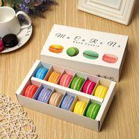 12 grades papel macaron embalagem caixa gaveta tipo chocolate caixas retângulo cookies pastelaria caso cupcake cozinha casa suprimentos lle10438