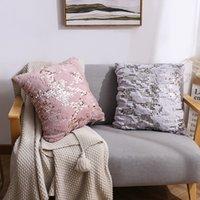 Plüsch Pailletten Kissenbezug Pelzkissenabdeckung Home Sofa dekorative flauschige weiche Kissenbezug Vollfarb Kissenbezug 40x40cm