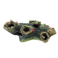 Aquário artificial decoração de madeira tanque decorativo tronco driftwood caverna abrigo ornamento para camarão 12x7x11cm decorações