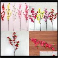 Декоративные венки искусственные цветы Персиковый цветущий вишневый декоративный ветвь длинный короткий стиль Свадьба гостиная EL HOODOOVE DECO O3IDJ