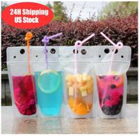 Navire de 24h 100pcs Sacs de boissons transparentes Pochettes de boisson dépollée Sac à boire en plastique en plastique avec paille avec support reclosable thermique FY4061 DHL 3-7 jours livraison