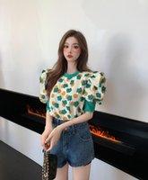 Blusas femininas Camisas Korobov 2021 Chegada O Pescoço Puff Manga Curta Mulheres Impressão Coreana Hit Color Patchwork Blusas Mujer Verão