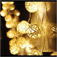 Festive Party Supplies Home & Gardenwholesale- Year Decoration Decorations Natal Christmas Led Outdoors Battery Rattan Ball String Fairy Ligh