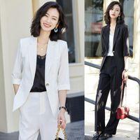 Fashion White Blazer Wmen Business Suit Ladies Pant And Jacket Sets Work Wear Office Uniform Styles Pantsuits Women's Suits & Blazers