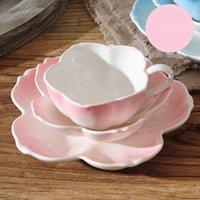 Coupes Soucoupes Fleur Creative Coffee Cuisson Coupe Porcelaine Mate Bone Chine Thé Moderne Boîte-cadeau Mignon Tazas de Cafe Teaware EB50BD