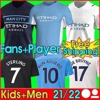 Manchester Soccer Jersey 21 22 G. Gesù City Sterling Ferran de Bruyne Kun Aguero 2021 2022 Camicie da calcio Man Uniform Men + Kid Kit