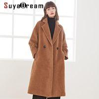 Suyadream handgefertigt 50% Alpaca Cashmere 50% Wolle Frauen lang Mantel Elegante Büro Chic Wollmischung Kamel Wintermantel