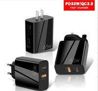 65W PD Type c USB-C wall charger Super Fast Quick Charge Eu US 2Ports Power Adapters For smartphone Samsung Tablet PC Android Phone