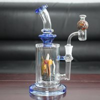 Smoke blue glass oil rig water pipes bongs bubbler sea world series with a quartz banger and random cap